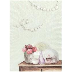 Papír rýžový A4 Květiny, perly