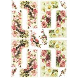 Papír rýžový A4 Rohy, šípková růže a sedmikrásky