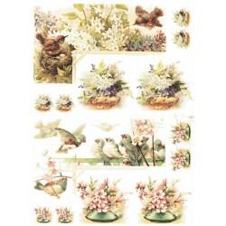 Papír rýžový A4 Roh s ptáčky a květinami