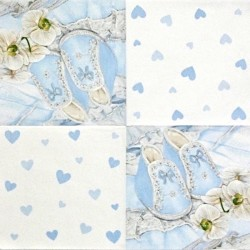 Modré bačkůrky a orchidej 33x33