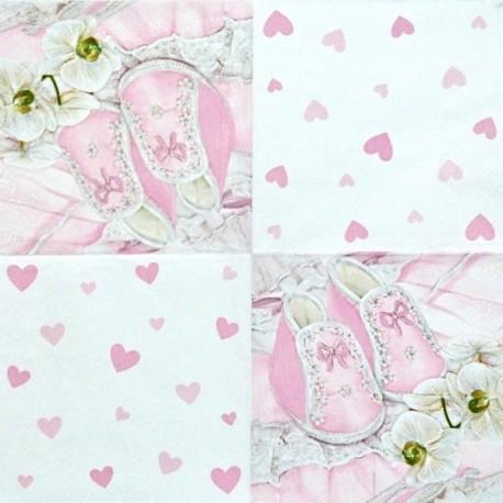 Růžové bačkůrky a orchidej 33x33