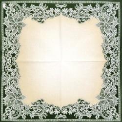 Vyšívaný okraj v zelené 33x33