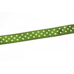 Saténová stuha s puntíky, 10mm - zelená