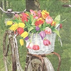Kolo s košíkem tulipánů 33x33