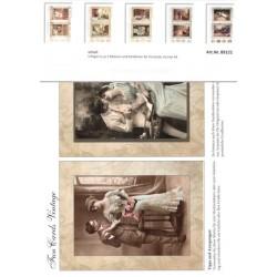 Set Vintage obrázky pro přáníčka, 5ks A4