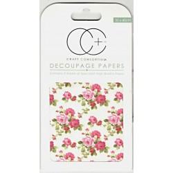 Kytice růží - set 3 papírů pro decoupage CC