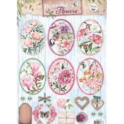Papírové výseky A4 - krásné květiny, ovály 1 (SL)