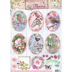Papírové výseky A4 - krásné květiny, ovály 2 (SL)