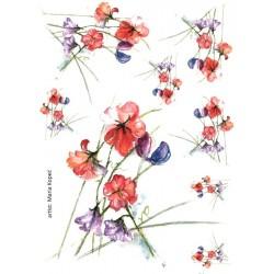 Papír rýžový A4 Zvonky a červené květy