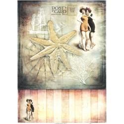 Papír rýžový A4 Letní motiv, hvězdice, dívky