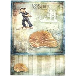 Papír rýžový A4 Letní motiv, mušle, plavčík
