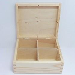 Krabička na čaj 4 komory, obdélník (bez zámečku)