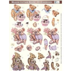Papírové výřezy 3D - Teddy Bears a košík s koťaty