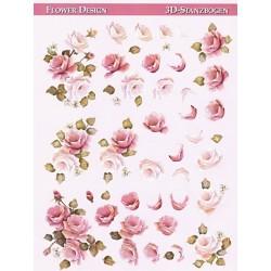 Papírové výřezy 3D - Růžové růže