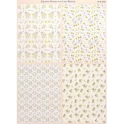 Papír na pozadí A4 - čtyři vzory dožluta