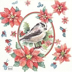 Vánoční motiv s ptáčkem 33x33