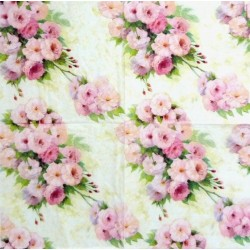 Růžové kytice na krémové 33x33