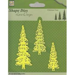 Vyřezávací šablony - tři vánoční stromy