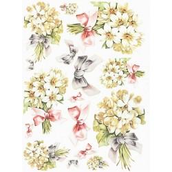 Papír rýžový A4 Kytičky bílých květů a mašle