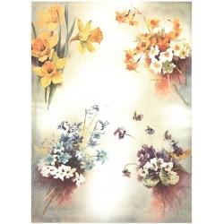 Papír rýžový A4 Čtyři kytičky květů