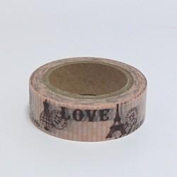 Papírová páska 15mm/10m - Love. Eiffelovka