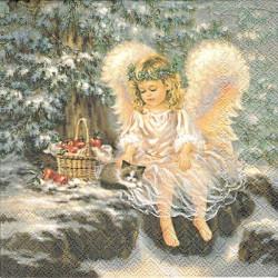 Malý andílek s koťátkem 33x33