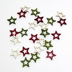 Dřev.dekorace barevné - hvězdy 2cm, 24ks