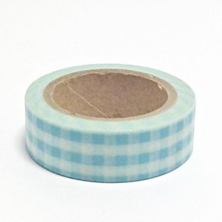 Papírová páska 15mm/10m - sv.modrá kostka