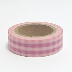 Papírová páska 15mm/10m - růžová kostka