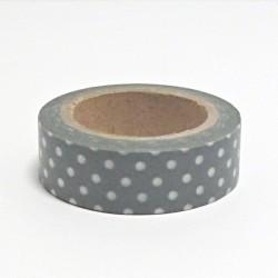 Papírová páska 15mm/10m - šedá s bílými puntíky