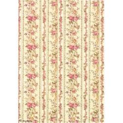 Papír rýžový A4 Tapetový vzor s růžičkami
