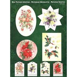 Papírové výřezy 3D - Vánoční květinové dekorace (2 listy)
