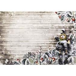 Karton 250g 24x34cm - Vánoční se sněhulákem na dřevě