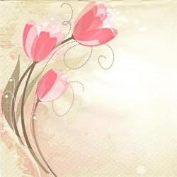 Růžové tulipány se spirálkami 33x33
