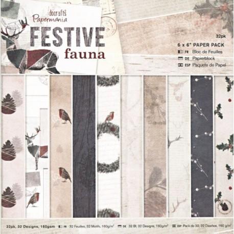 Sada papírů 15x15 Festive fauna