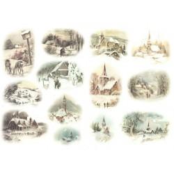 Papír rýžový A4 Malé zimní obrázky, kostelíky