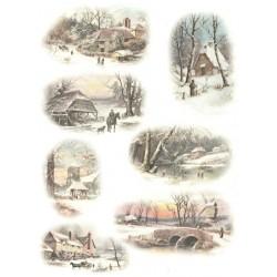 Papír rýžový A4 Starobylé stavby v zimě