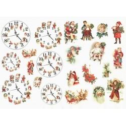 Papír rýžový A4 Vánoční obrázky vintage a hodiny