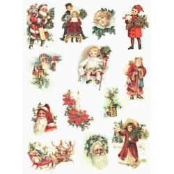 Papír rýžový A4 Vánoční obrázky vintage