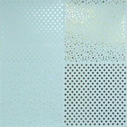 Papír 31x31cm - tečky, pastel.modrá a zlatá