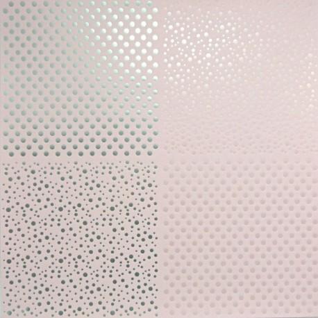 Papír 31x31cm - tečky, pastel.růžová a stříbrná