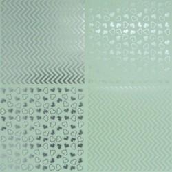 Papír 31x31cm - srdce a klikaté čáry, pastel.zelená a stříbrná