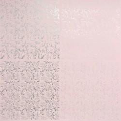 Papír 31x31cm - větvičky a spirály, pastel.růžová a stříbrná