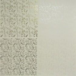 Papír 31x31cm - větvičky a spirály, pastel.žlutá a zlatá
