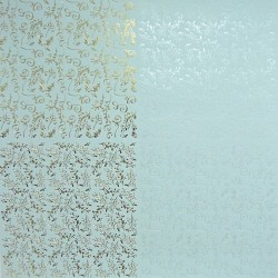 Papír 31x31cm - větvičky a spirály, pastel.modrá a zlatá
