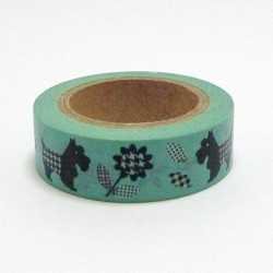 Papírová páska 15mm/10m - pejsci a kytičky