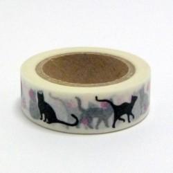 Papírová páska 15mm/10m - kočky a růžové pacičky