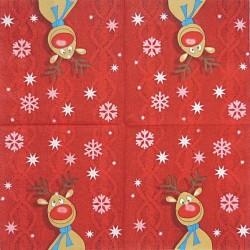 Rudolf na červeném úpletu 33x33
