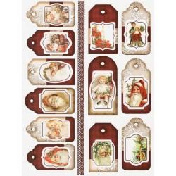 Scrap.papír A4 Visačky - vánoční červené s krajkou