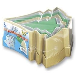 Krabičky Vánoční stromečky, ze silného kartonu, 6ks mix (F)